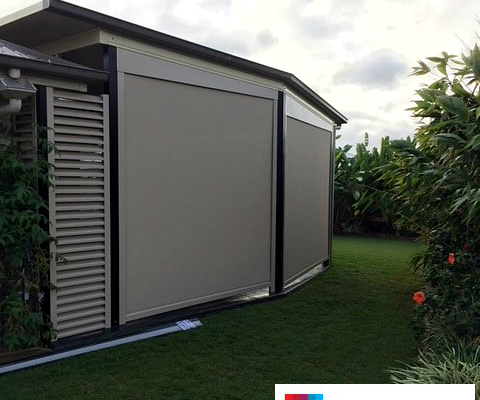 outdoor blinds patio enclosure room total shade solutions cream vertical manual motorised system