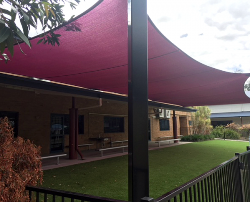 shade sail prep area school primary large area total shade solutions brisbane maroon burgundy posts footings