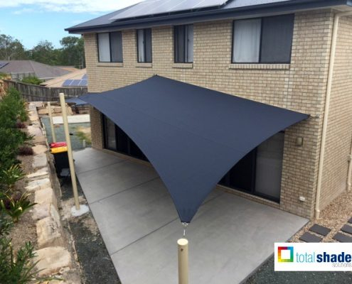 shade sail entertainment area black shade cloth shadecloth outdoor patio area living space steel posts fixing points