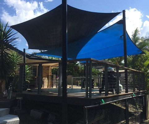 shade sail deck entertainment outdoor area black blue shade solution brisbane queensland shadecloth sun protection