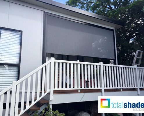 outdoor patio blinds front deck grey patio sun protection privacy vertical drop total shade solutions brisbane