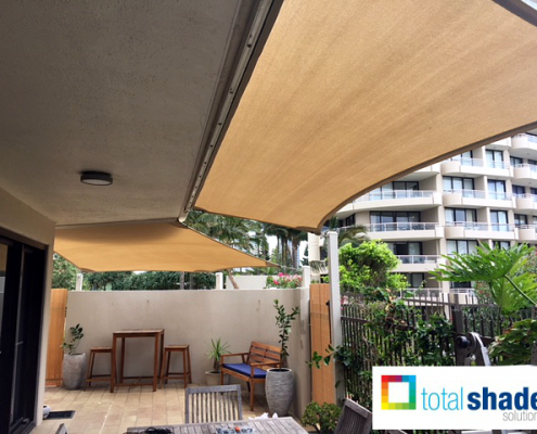 two shade sails on a outdoor balcony apartment small area kalahari sands shade sun protection privacy total shade solutions brisbane
