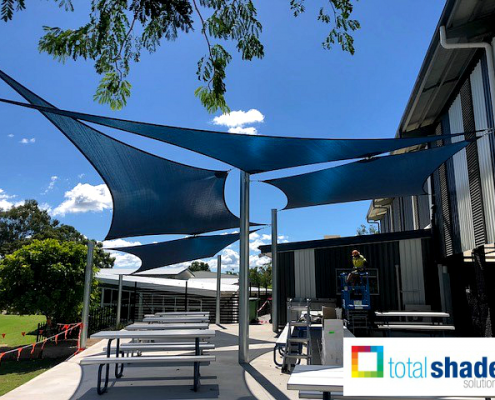 shade sail outdoor area eating lunch quadrangle project school queensland brisbane